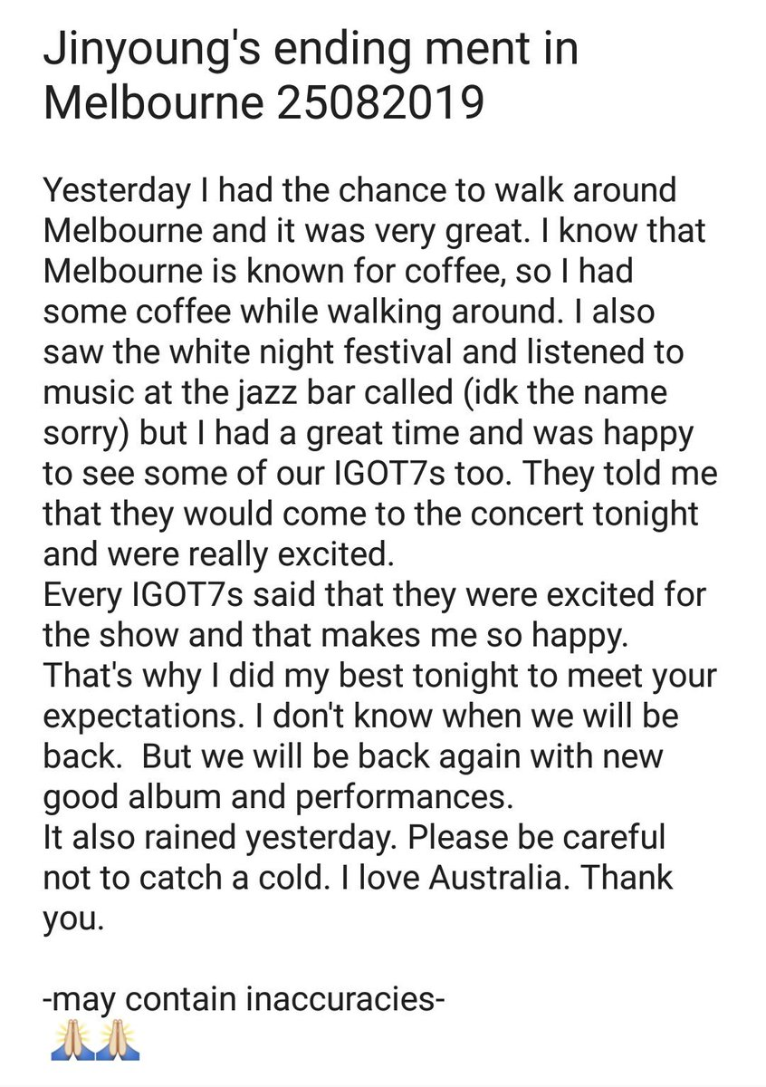 """Jinyoung's ending ment in Melbourne 25082019  """"Every IGOT7s said that they were excited for the show and that makes me so happy. That's why I did my best tonight to meet your expectations.""""  #GOT7  @GOT7Official #갓세븐  #GOT7_KEEPSPINNING  #GOT7inAustralia #GOT7inMelbourne<br>http://pic.twitter.com/ED45SeErWf"""