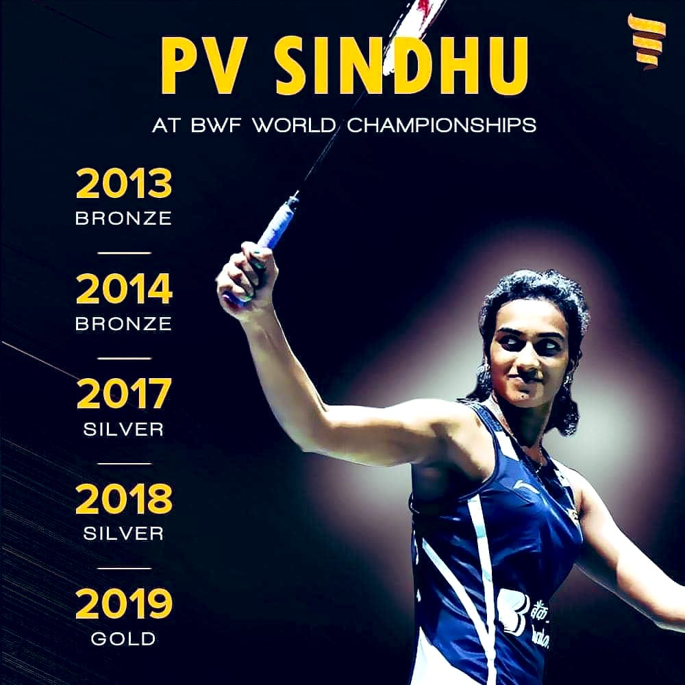 Big Congratulations to @Pvsindhu1 Your hard work,zeal and dedication is so inspiring. Such a proud moment for India & Indian Sports.🇮🇳🙏 #PVSindhu #BWFWorldChampionships2019