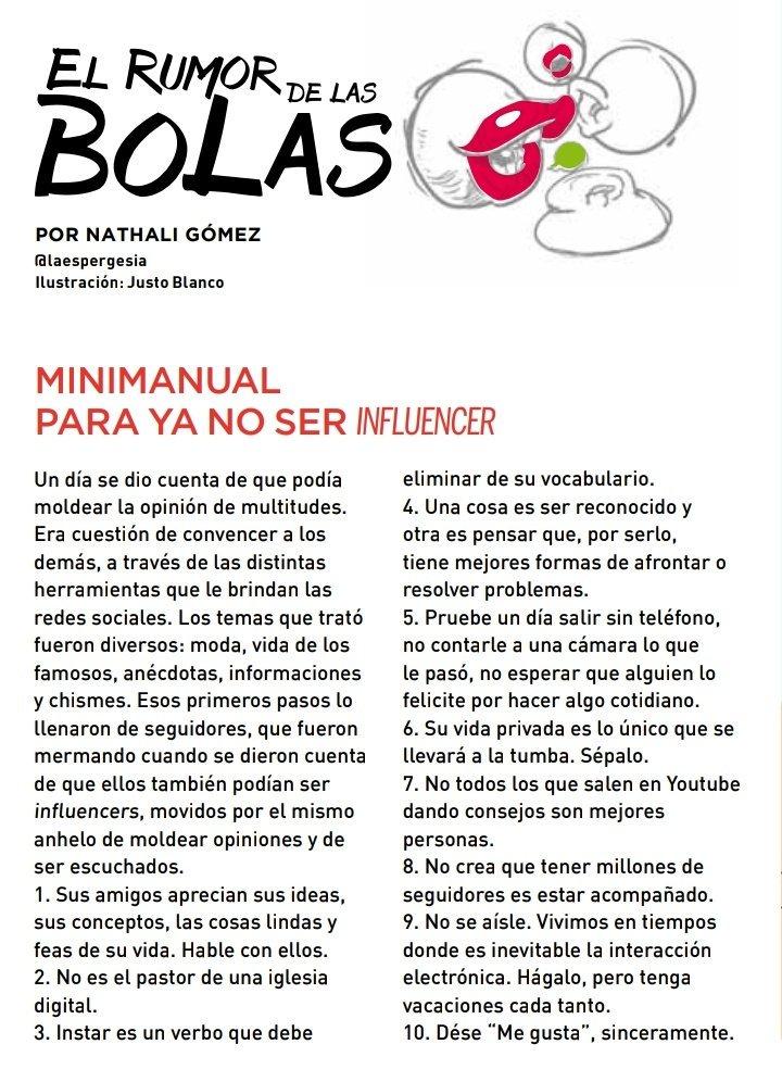 Por aquí les dejo el #Minimanual para ya no ser un influencer, publicado en @epaleccs e ilustrado por Justo Blanco.