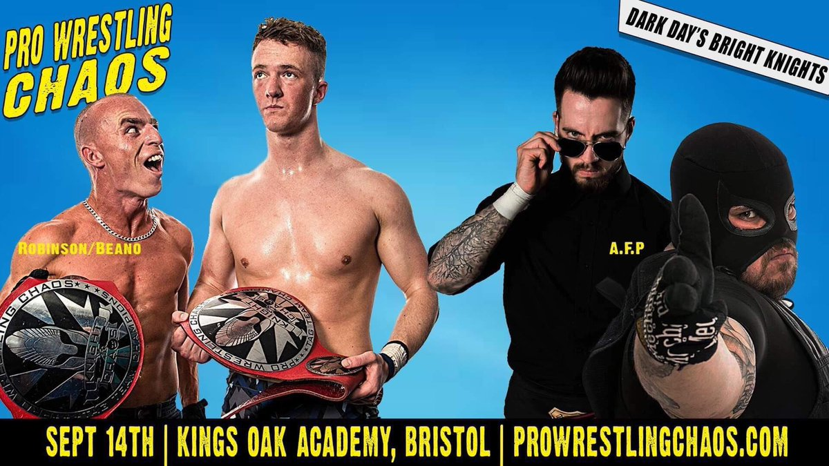 Here's a banger of a Kinghts of Chaos tag title match I forgot to announce yesterday...... @chaos_wrestling's odd couple @ManLikeBeano and @PR_WRESTLING defend their straps against our resident lionnapping detectives @NoFunDunne and @FederalesJr. Things are sure to get weird.....