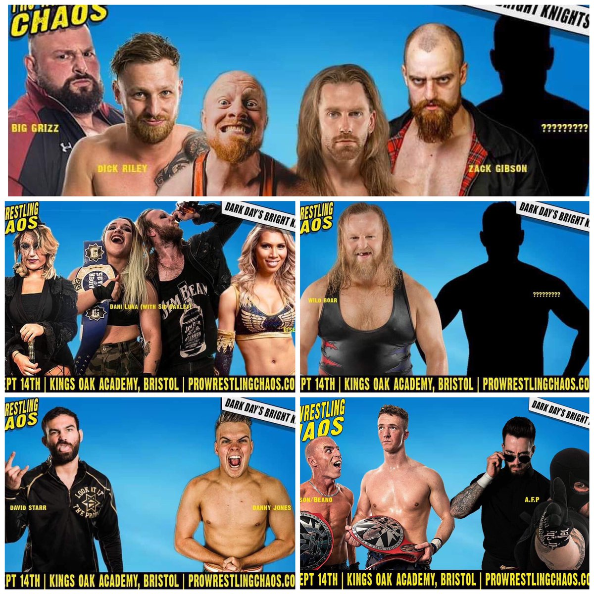 Super fun card for @chaos_wrestling next month!