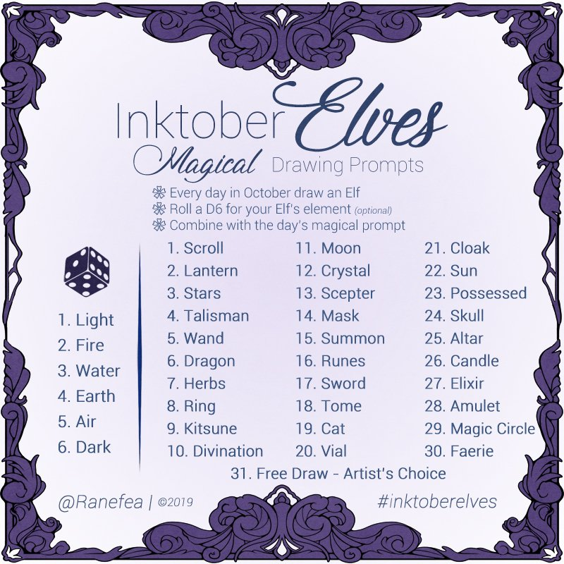 It's here! The #InktoberElves2019 #prompt is ready! Let's flood the internet with #Elves again this year!  #InktoberElves 2019: Everyday in October, draw an #Elf themed with the #magical item, animal, or concept of the day.   #Inktober #InktoberPrompt pic.twitter.com/8h3VT2gtp9