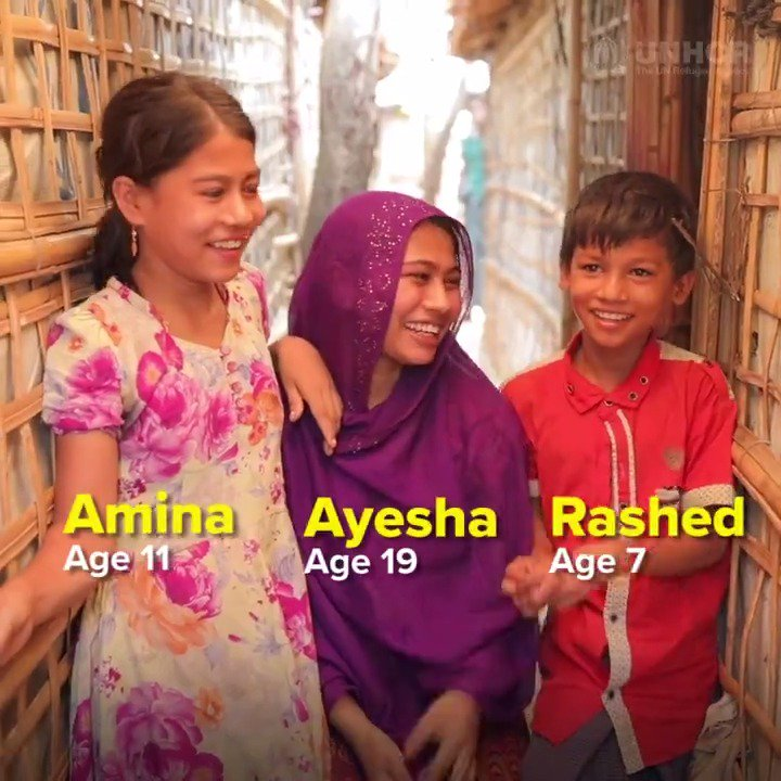 """UNHCR, the UN Refugee Agency - """"My little brother and sister are the ones I'm living for,"""" says 19-year-old Ayesha.  The Rohingya refugee lost her parents when they were forced to flee Myanmar."""