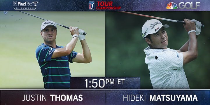 Now on the tee at the @playofffinale: Justin Thomas and Hideki Matsuyama.   Watch now on @nbc and streaming here: https://t.co/yP7oaaHiov https://t.co/qeQDPmr1Rd