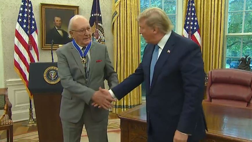 In a ceremony Thursday at the White House, President Donald Trump presented a legendary basketball player with one of the nation's highest civilian honors.  https://t.co/Nhf6aatKOl https://t.co/LYBJMk70nE