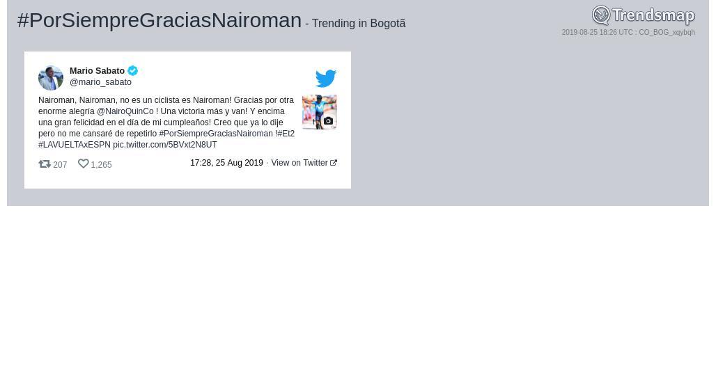 #porsiempregraciasnairoman es ahora una tendencia en #Bogotãhttps://www.trendsmap.com/r/CO_BOG_xqybqh