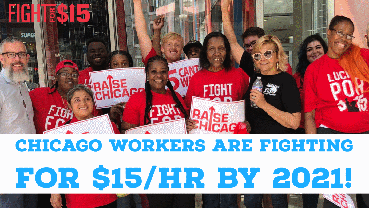 Illinois passed a bill raising the minimum wage this year, but Chicago workers are organizing for more. Solidarity from LA! #15CantWait! https://t.co/dccxaZaer5 #FightFor15 https://t.co/AyTuExsA6b