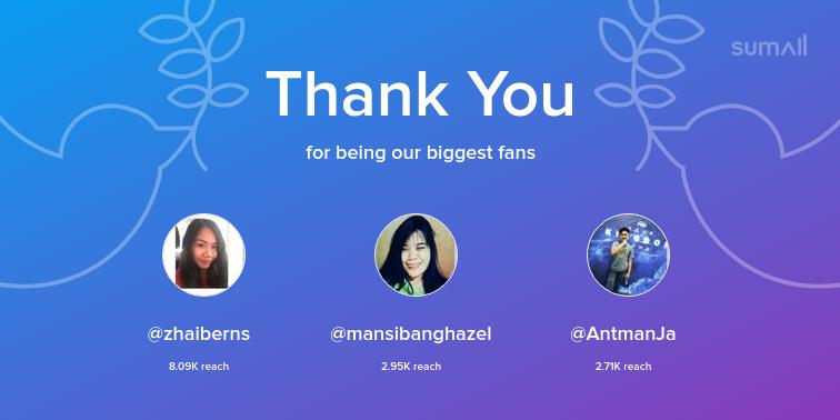 Our biggest fans this week: zhaiberns, mansibanghazel, AntmanJa. Thank you! via sumall.com/thankyou?utm_s…