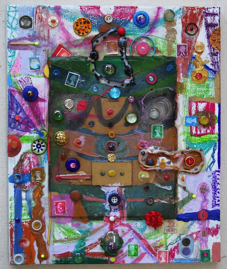 This painting is made of two sections a central part which I made a long time ago and then added to the the larger canvas and made it as one. It's got lots of beads and buttons and dribbles of paint.