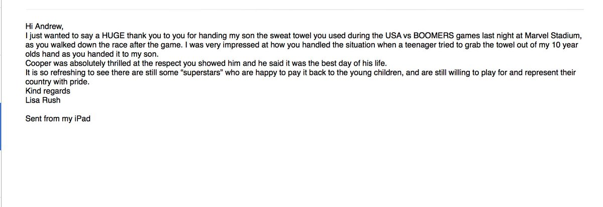 Sometimes it's the things you don't think twice about that mean so much to people........Cool email to wake up to.