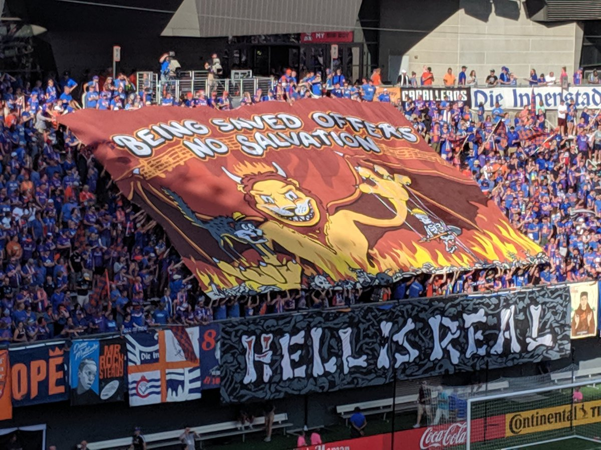 """Being Saved Offers No Salvation""   #FCCincy  #HELLisREAL #CINvCLB #Tifo<br>http://pic.twitter.com/yHYW8r4HHc"