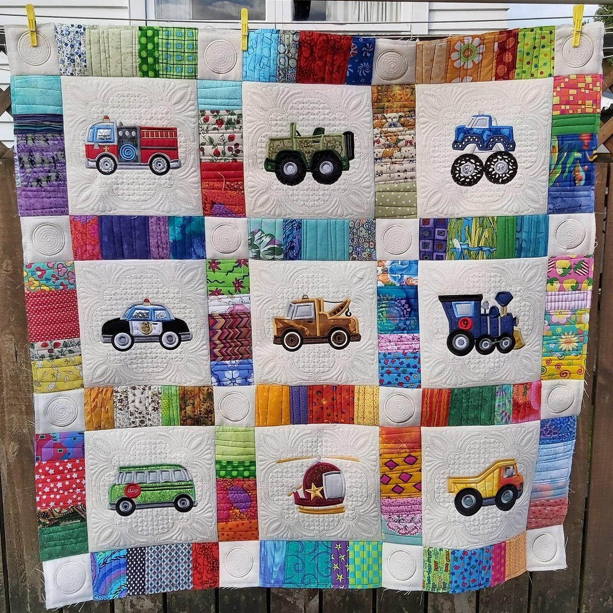 Are you drooling over this quilt yet?  Kathryn made this stunning quilt using embroidery designs from our Lets  Go Applique set.  https://www.bunnycup.com/embroidery-design-Lets-Go-Applique-5x7 …  #bunnycup #bunnycupembroidery #stitchtheworldabetterplace #applique #quilt #cars #embroidery