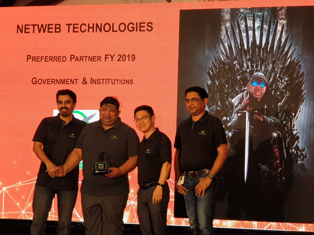 Netweb Technologies wins Seagate 'Preferred Partner 2019' (Government & Institutions). Here's a fun moment from the event with Netweb's Hemant Agrawal on the iron throne, celebrating our win in epic #GameofThrones style #NetwebTechnologies #Tyronesystems https://t.co/CyNnZxgBZ0