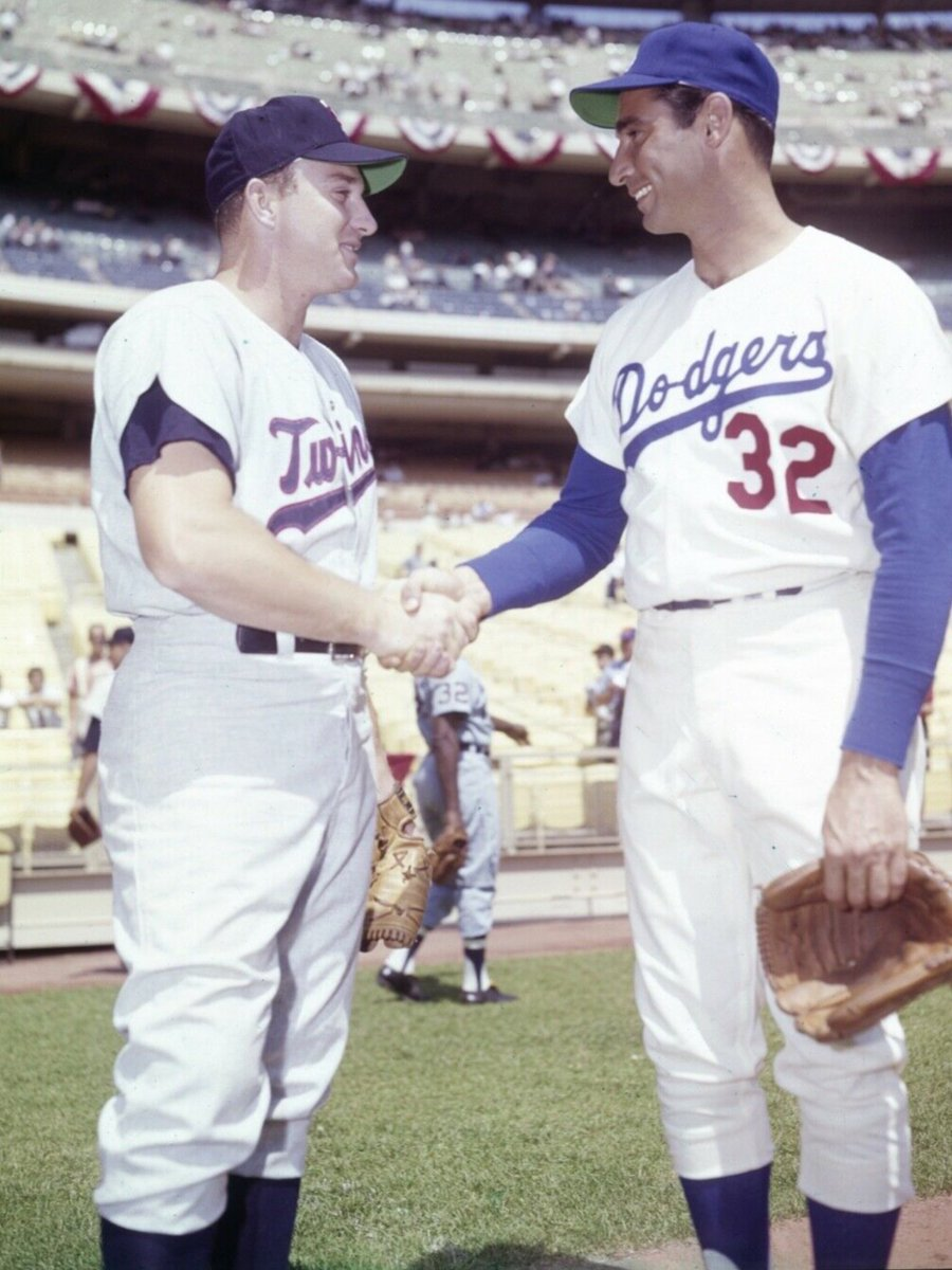 """""""Old Days"""" 2 of Baseballs Biggest Stars in the 1960's,Harmon Killebrew and Sandy Koufax meet before the 1964 All Star Game at Shea Stadium.#Dodgers #LosAngeles #Twins #Minnesota #MLB #NYC #1960s https://t.co/fBzEeaXvZE"""
