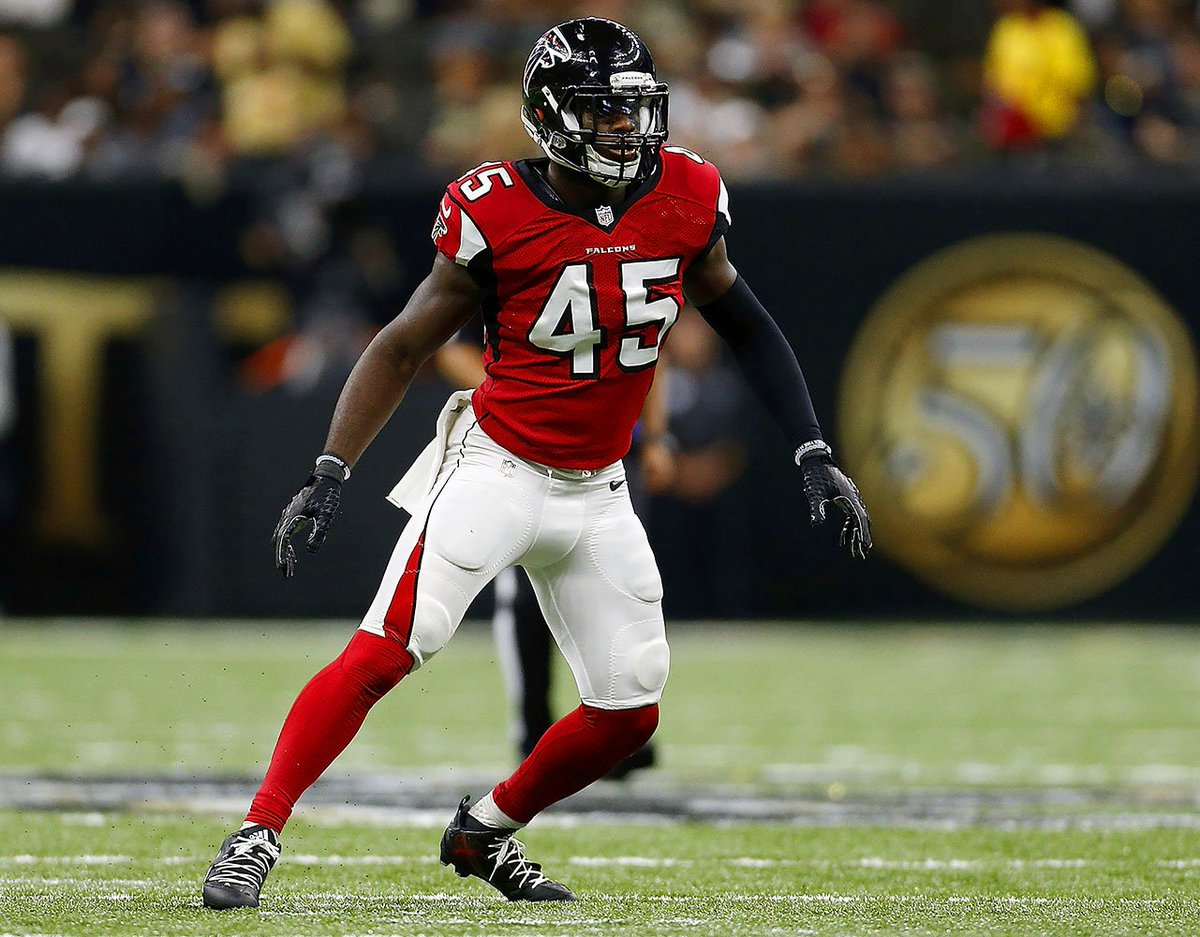 LB Deion Jones showed why he is worth the big money as he gets 2 ints and force fumble in 38-35 home win vs the previously undefeated Titans. Falcons now even their record at 2-2 and face the Texans next. @MofRams #Mofps4 #RiseUp https://t.co/7v2Bxuxmv2