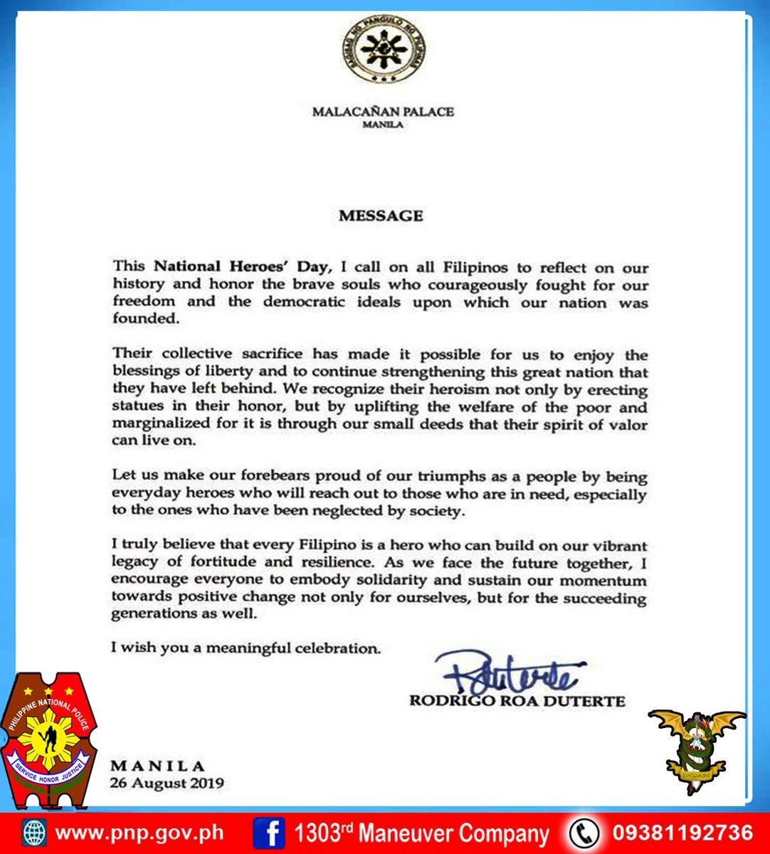 ATTENTION: Presidents Message Today National Heroes Day 2019.  #PNPpulisumaksyonmabilis #PNPpulisAtKomunidad #PNPtoserve&protect #PNPinformsPublic #NationalHeroesDay2019 #SaluteToOurHeroes. https://t.co/StWzGUnmGl