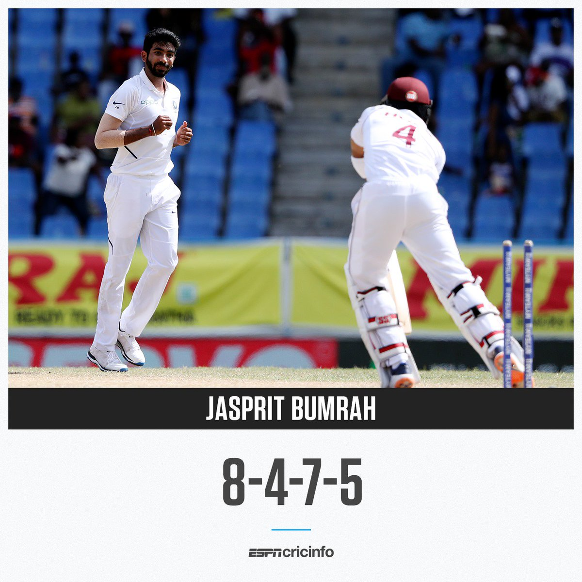 In the second innings of the Antigua Test, Jasprit Bumrah unleashed the absolute fury of the outswinger #WIvIND es.pn/2Lbu2yB