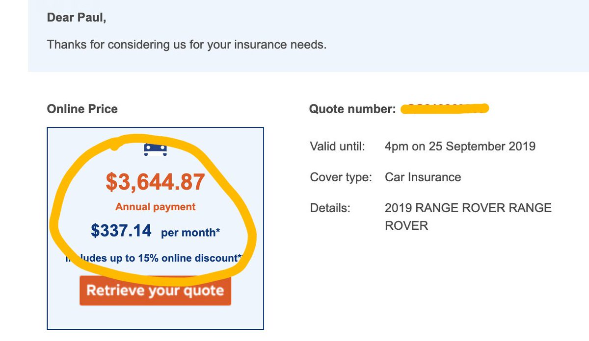 Be careful if you plan on buying a Tesla! The quotes I've seen are astronomical! In fact, it's cheaper to insure (by almost 50%) a $270,000 Range Rover than it is a $90k Model 3. Quotes below are for 30+ y.o. with secure overnight parking and mileage cap. $5599/y v $3644/y https://t.co/rigPA6rkuV