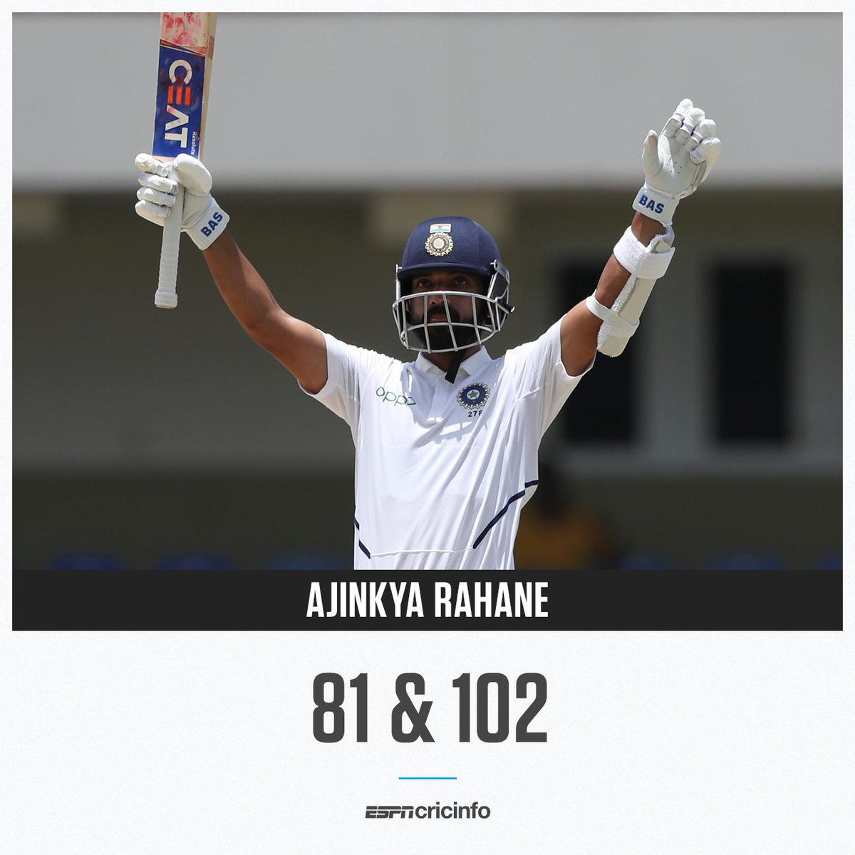For his two vital innings, Ajinkya Rahane was the Player of the Match in the Antigua Test 🏆 es.pn/2019WIvINDT1 | #WIvIND