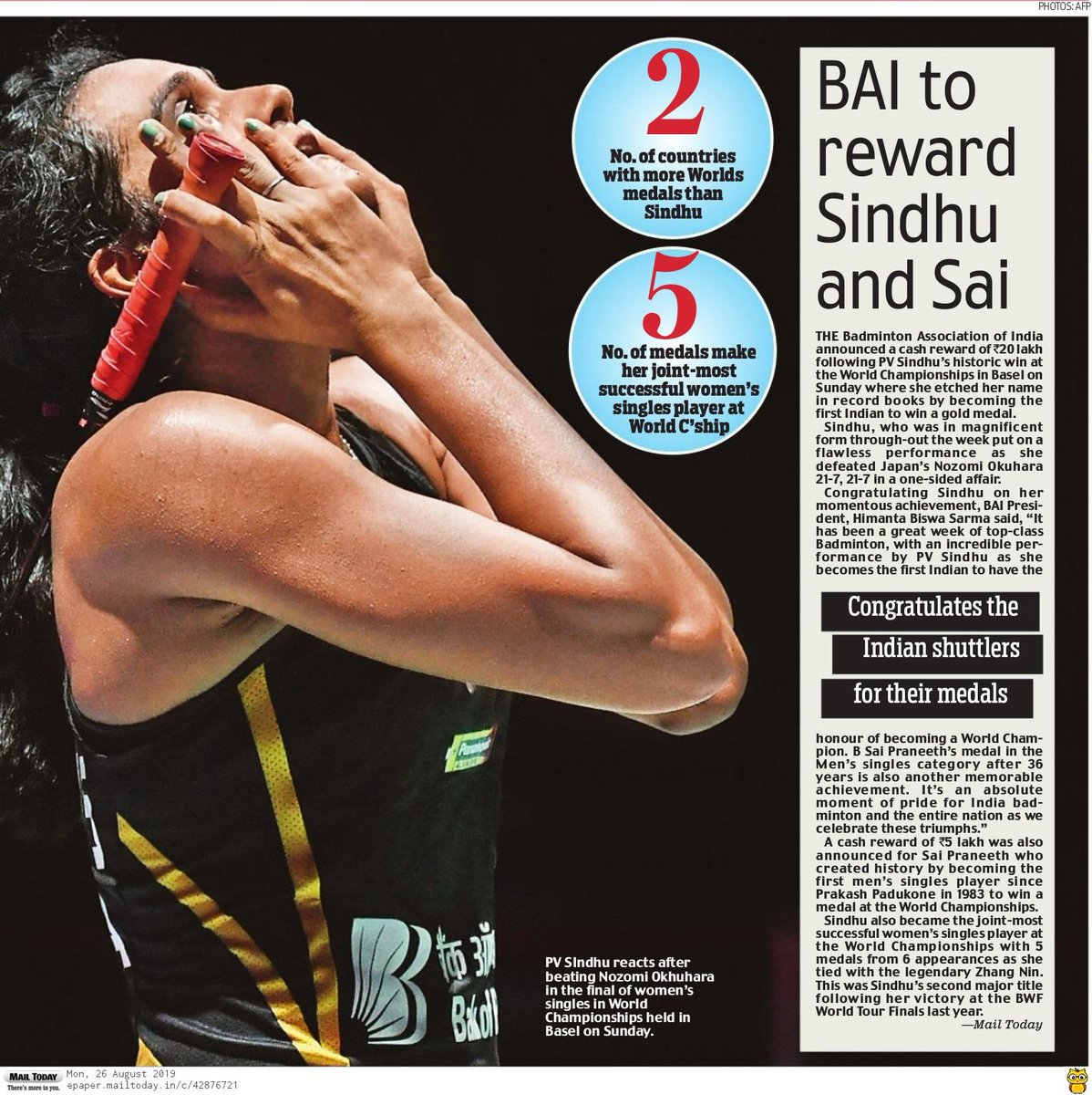 The 24 Karat Gold Girl!  More newspaper coverages here.  #IndiaontheRise  #BWFWC2019  #PVSindhu  #badminton<br>http://pic.twitter.com/cDGzP674rB