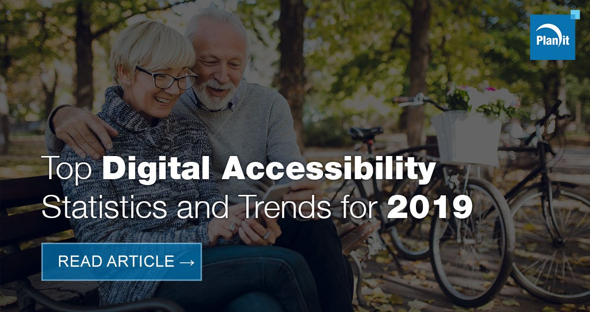 Top Digital Accessibility Statistics and Trends for 2019. Read article. A couple sitting on a bench and sharing a smartphone.