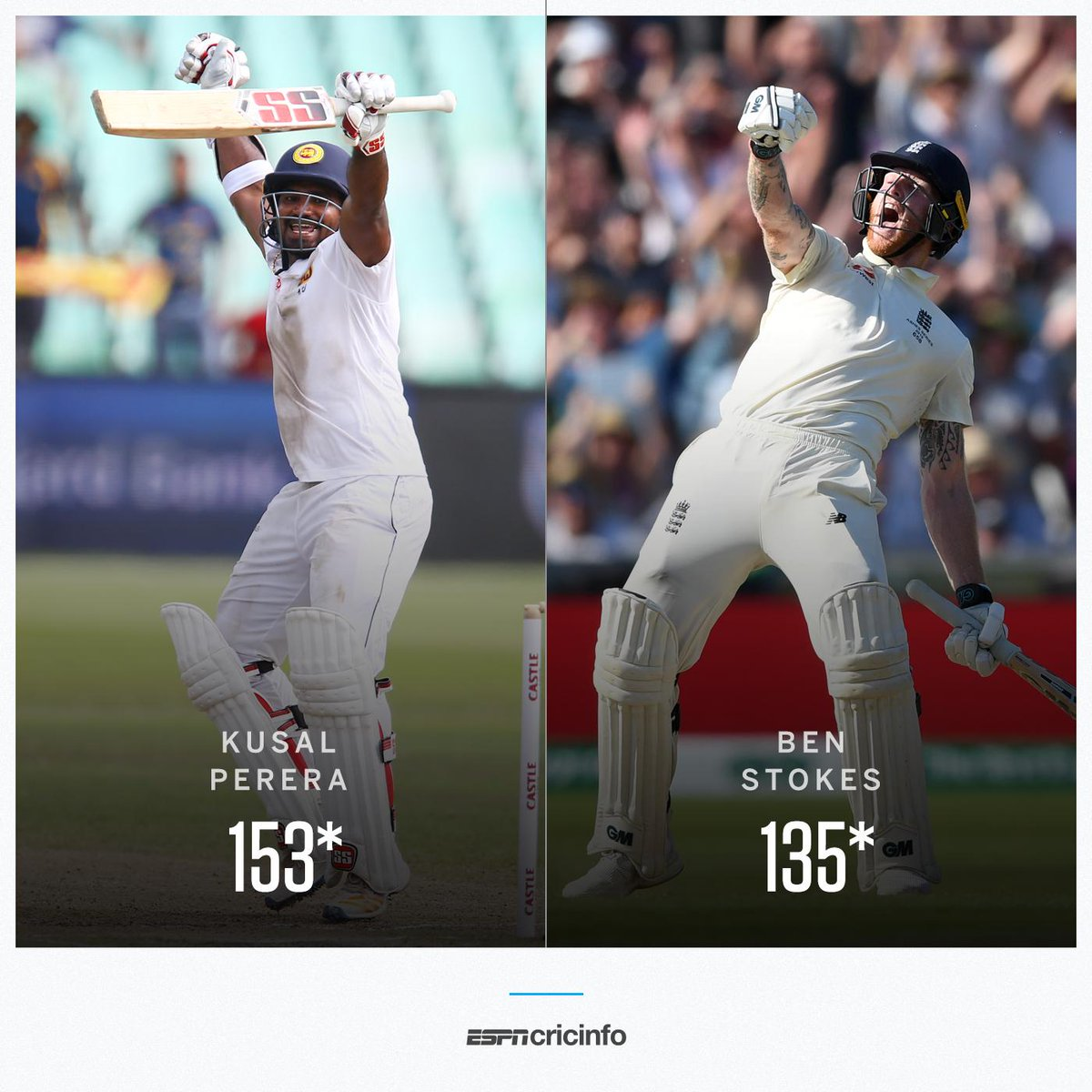 ✅ An unbeaten fourth-innings hundred ✅ An unbroken tenth-wicket stand of 75+ runs ✅ A stunning one-wicket win Who did it better in 2019: Kusal Perera or Ben Stokes? es.pn/30ucd45 #Ashes