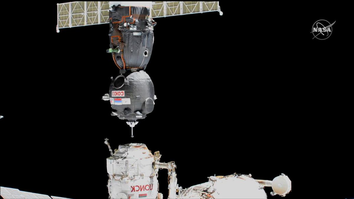 Successful relocation! At 11:59pm ET, the Soyuz MS-13 spacecraft was docked to the Poisk module of the @Space_Station. This move frees the port for an uncrewed Soyuz MS-14 spacecraft to execute a second docking attempt Monday night. Get more details: go.nasa.gov/2L8T2Gv