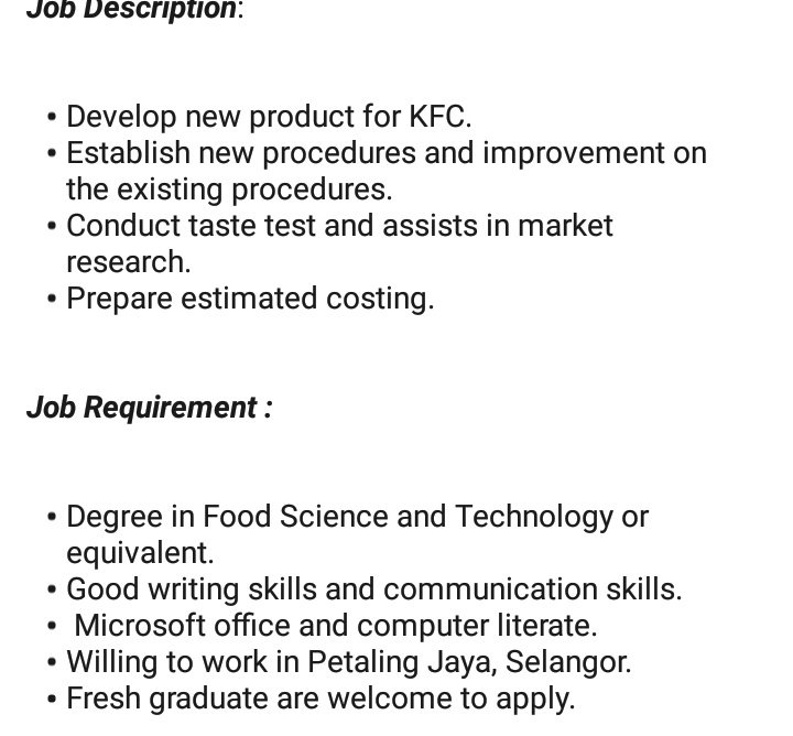Malaysia Careers On Twitter Calling For Fresh Graduates With Degree In Food Science Or Technology Kfc Pizza Hut Malaysia Qsr Brands M Holdings Bhd Is Hiring Food Technologist Apply Now Through