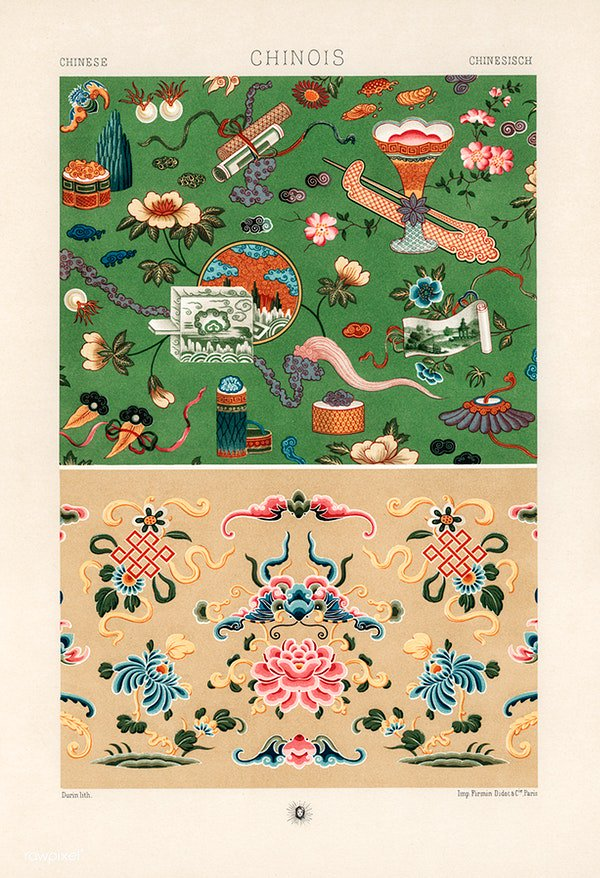 Chinese pattern from L'ornement Polychrome (1888) by Albert Racinet. Digitally enhanced from our own original 1888 edition. Download this image: https://t.co/nZUPhwr8c4 https://t.co/RPCjSvul81