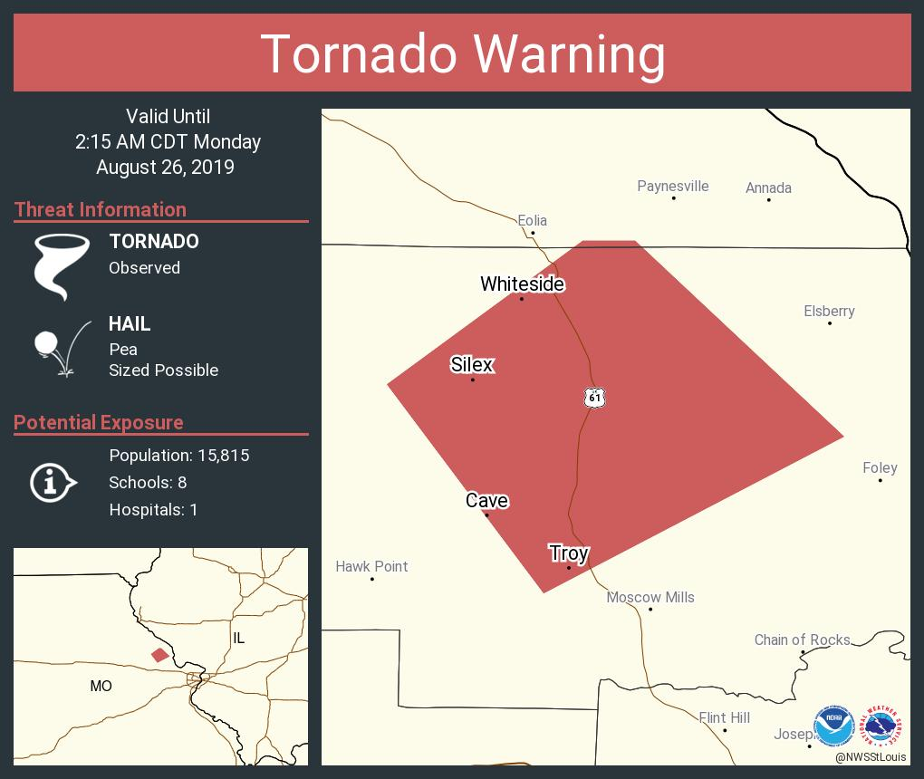 RT @NWSStLouis: Tornado Warning including Troy MO, Silex MO, Whiteside MO until 2:15 AM CDT https://t.co/nL602z4eJN