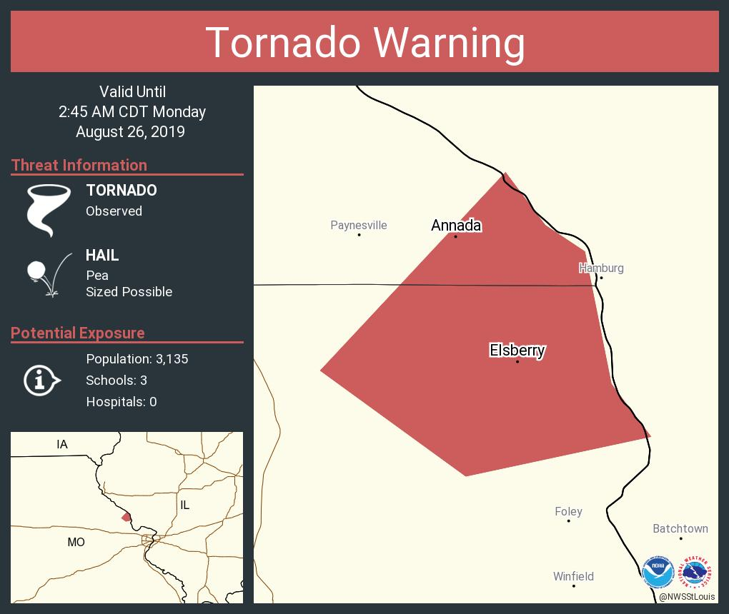 RT @NWSStLouis: Tornado Warning including Elsberry MO, Annada MO until 2:45 AM CDT https://t.co/FJqxoPCxOO