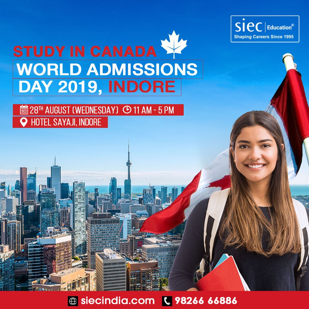Study, work & settle in Canada. Attend SIEC's World admissions day in Indore.  Visit: https://t.co/ctYCSkcxZA Call: 9826666886  Event Date: 28th Aug 2019 Time: 11 AM to 5 PM  #studyabroad #worldadmissionsday #studyabroadconsultantinindore #studyoverseas #overseaseducation https://t.co/IQFdxf1s6l