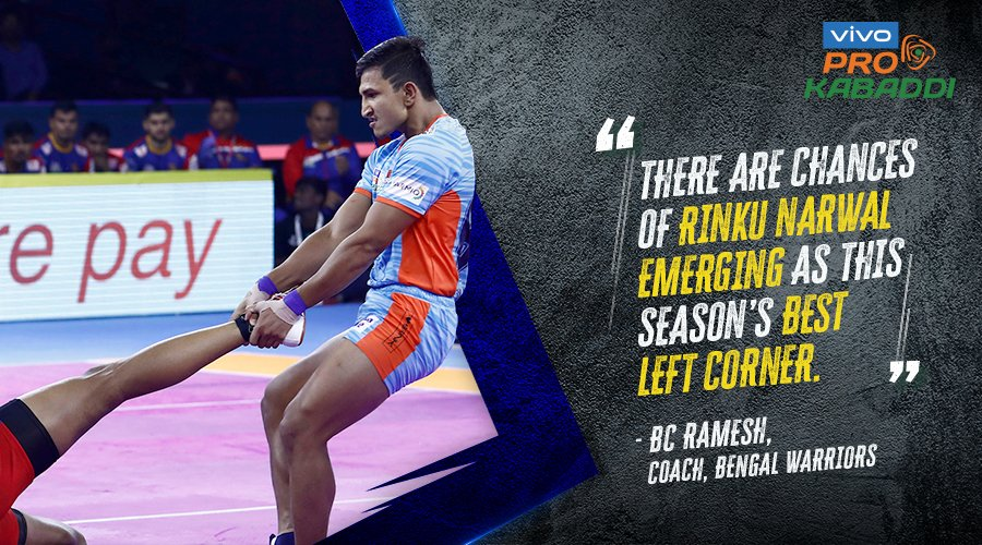 😮😱  Do you agree with the @BengalWarriors coach?  Watch Rinku Narwal, LIVE in action tonight in #KOLvHAR, 7 PM onwards, only on Star Sports! #IsseToughKuchNahi #VIVOProKabaddi