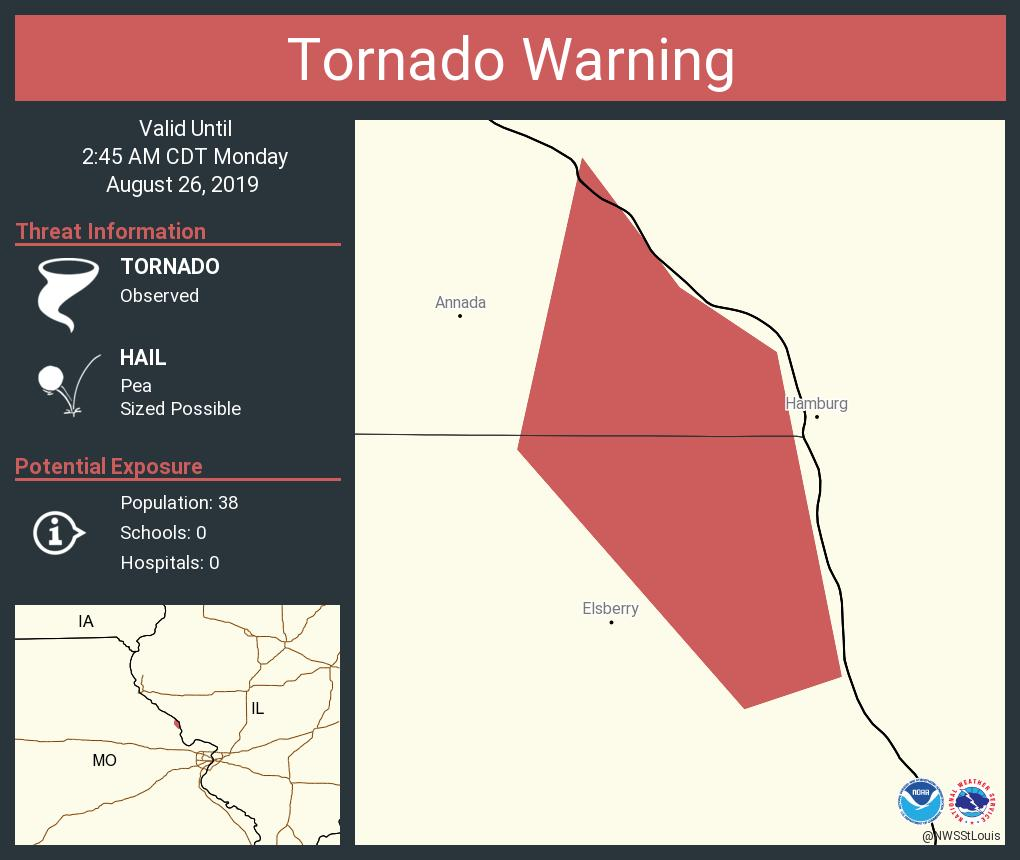 RT @NWSStLouis: Tornado Warning continues for Lincoln County, MO until 2:45 AM CDT https://t.co/NWBzq58Ns0