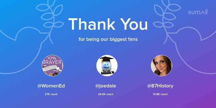 Our biggest fans this week: WomenEd, joedale, 87History. Thank you! via sumall.com/thankyou?utm_s…