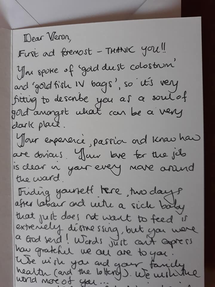 One of our colleagues was given this card. Having worked with her I can confirm she is ALL the words in the card. NHS staff get lots of negative feedback in press etc. But this positive feedback is also so important. Pls try and give both. RT to give her a pat on the back. #nhs