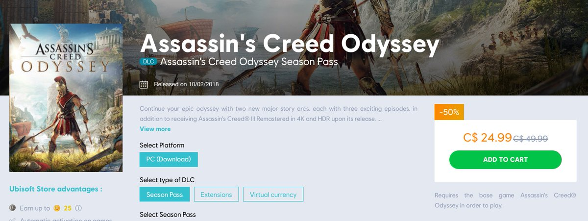 Assassin's Creed Odyssey Season Pass (UPlay) is $24.99 at Ubisoft https://t.co/nDpyxNbuGV $26.74 on the PSN (price in cart) https://t.co/DgT9XzWrQ6 https://t.co/XlYe2iW2VH