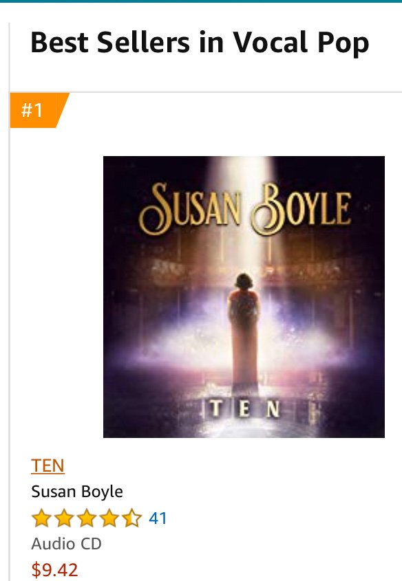 RT @MooreHeadlines: Susan Boyle TEN still #1 Amazon U.S. Vocal Pop bestsellers https://t.co/VzgrIsLgAh