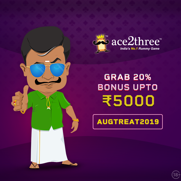 Yay! Grab 20% Bonus on Ace2Three Rummy Use Bonus Code: AUGTREAT2019 & Grab up to 5000. T&C* Apply. Play Rummy Now: bit.ly/50Rsfreerummya… #ace2three #rummy #MondayMotivation