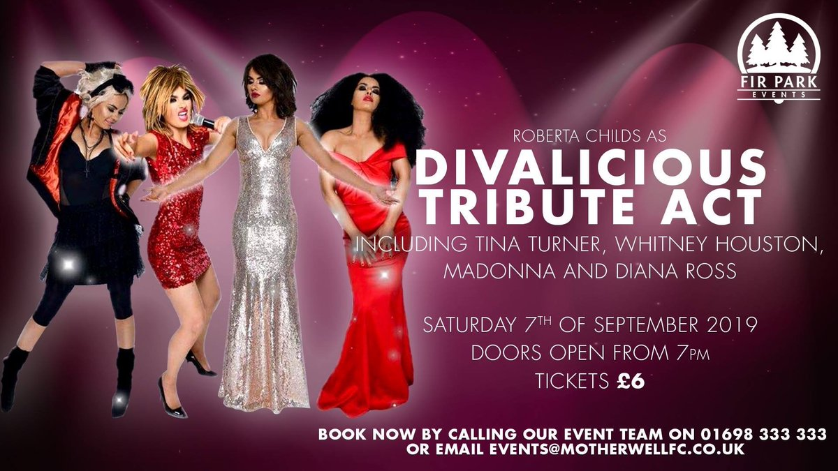 Don't miss Roberta Childs performing live as Tina Turner, Whitney Houston, Madonna and Diana Ross at the Centenary Suite at Fir Park on Saturday 7th September! https://t.co/9WfsyABKwL https://t.co/Gqlgu8iKzL