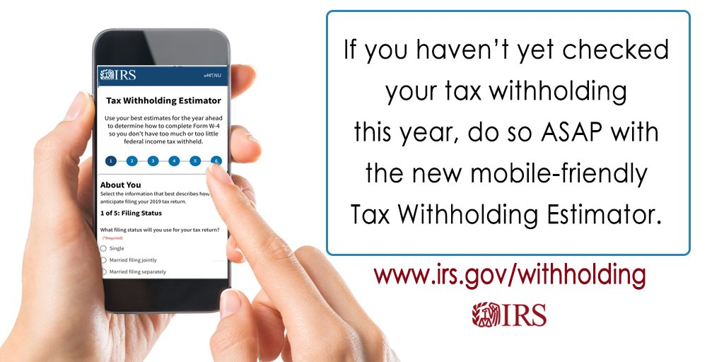 #IRS recommends you use the new Tax Withholding Estimator to do a #PaycheckCheckup today. https://t.co/FrYxFQ67s6 https://t.co/rMFt6xxPts via IRSnews #LopezTaxes