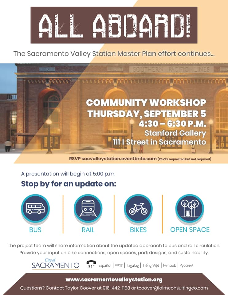 You're invited to the Sacramento Valley Station Master Plan community workshop on September 5th at 4:30 pm in the Stanford Gallery, 111 I St.  The project team will be on hand to share information about the updated approach to bus and rail circulation.  Hope to see you there! https://t.co/J3tTshxwJp