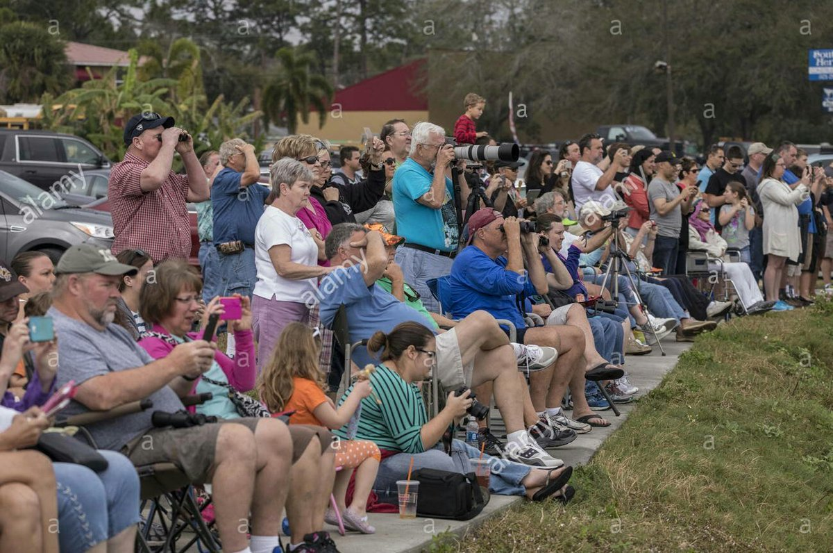 Spectators watching SpaceX Rocket launch from Cape Canaveral FL https://t.co/WokOZbpHN1