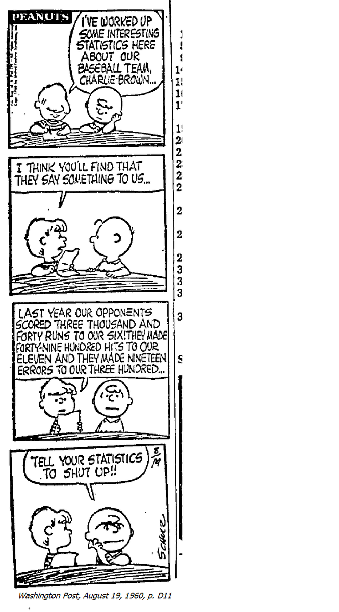 First day of class, or, to paraphrase Jim Bouton, First Day of Class. The more relevant Ball Four quote is Bouton quoting a manager quoting Charlie Brown telling Lucy to tell her statistics to shut up. For fans of baseball and data @JSEllenberg @cjphillips100, here's the cartoon https://t.co/YTWaanjmSi