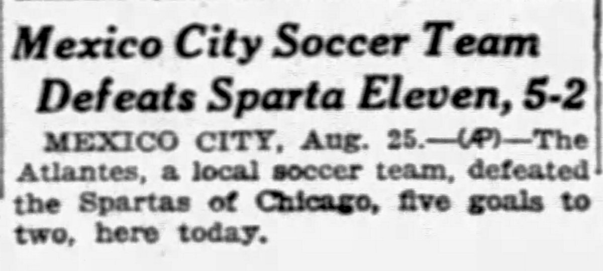90 years ago today in American professional soccer (@AP_Sports)  @ChicagoSparta become the first professional US club to play in Mexico - coming up short v @Atlante.   @NSLChicago #NSL100 https://t.co/Elqc0Jejot