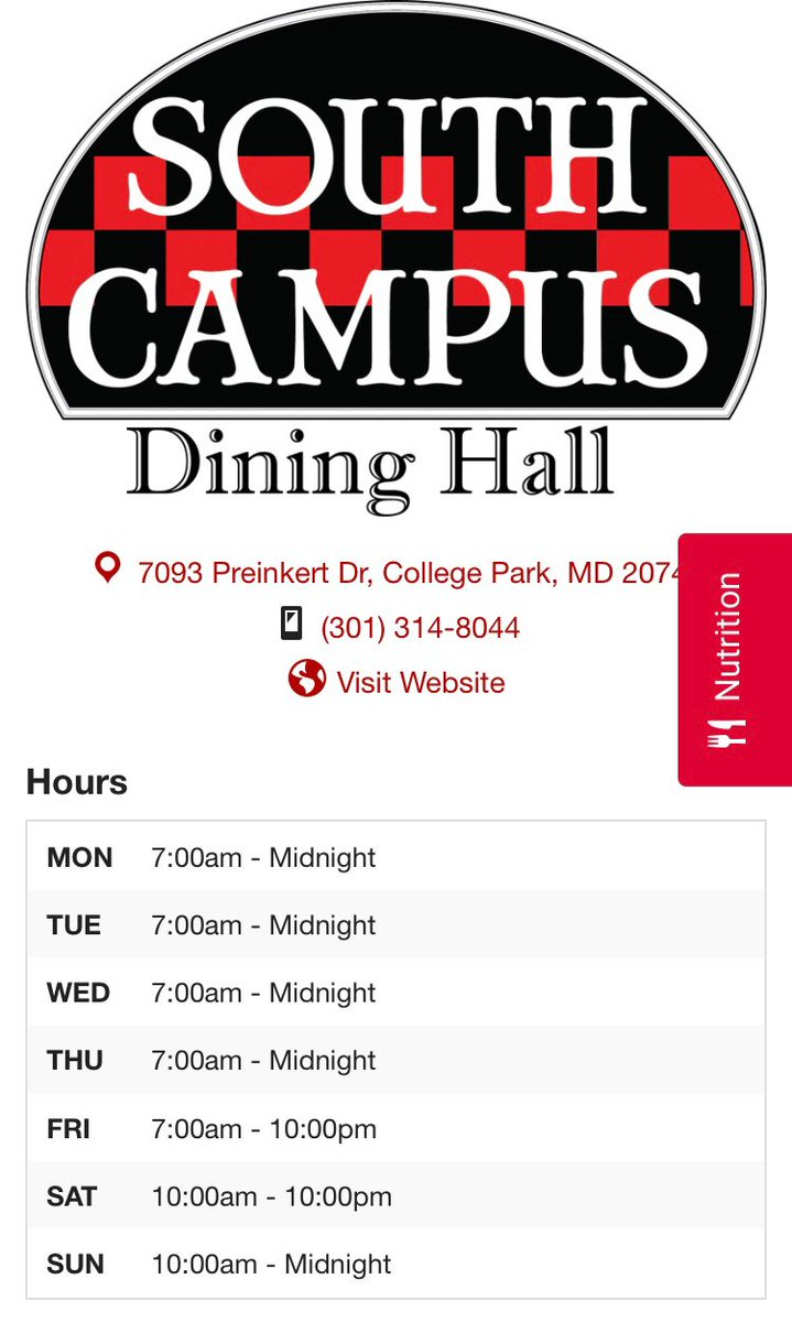 Happy first day of classes, Terps! Here are our regular hours for the semester from our website. For any school delays or closings throughout the year, times will be updated at https://t.co/2xroe52z6a https://t.co/tSLJklMcuc