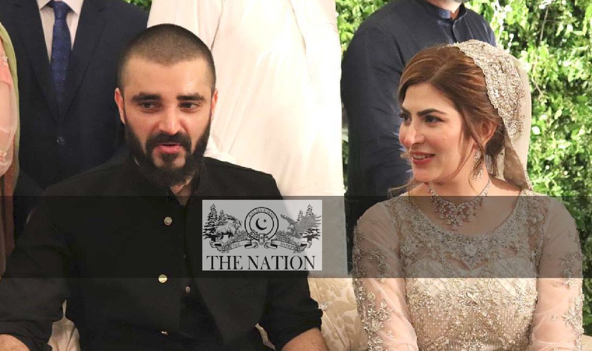 First look from actor #HamzaAliAbbasi and #NaimalKhawar's wedding reception in Islamabad.  #HamzaWedsNaimal <br>http://pic.twitter.com/HAZ4zeYr59