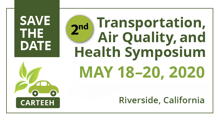 Save the Date! The second Transportation, Air Quality and Health Symposium will be held May 18 - 20, 2020 in Riverside, California. More details to come, check https://t.co/SXk7wDmqFq for information and details! #CARTEEH #AirQuality #Transportation #Emissions #Health https://t.co/scN6GxSQTl