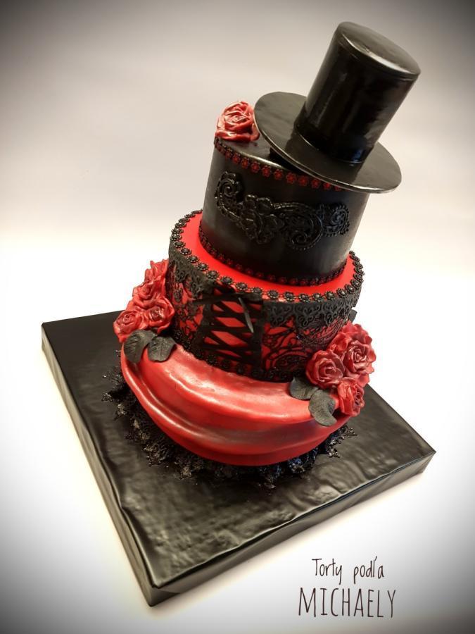 #Cake 🍰 Awesome of the Day: Red #Steampunk-ish ⚙️ #Gothic Pièce Montée #Birthdaycake 🎂 #Weddingcake 💍 with Black Hat 🎩 & Red Roses 🌹 via @CakesDecor #SamaCake