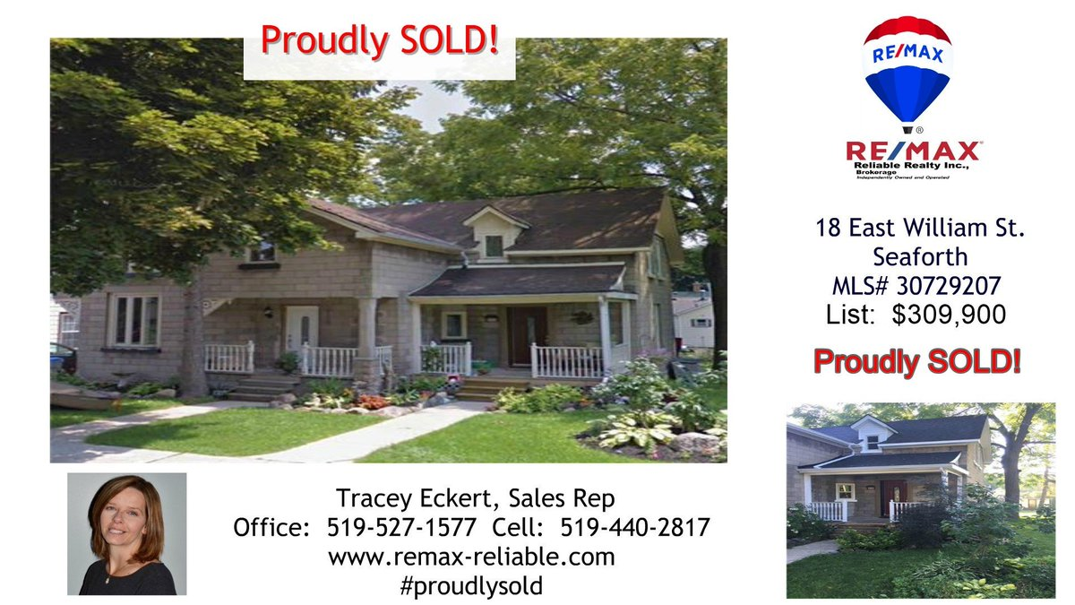 Proudly SOLD!  18 East William St. Seaforth MLS# 30729207   List:  $309,900   Lrg 3 +1 bed & 2 baths  Easy walk to schools Many updates! SOLD!   Tracey Eckert, Sales Rep at 519-527-1577 (office) or 519-440-2817 (cell)   https://t.co/tnWgL2jTFy https://t.co/g3a4vchrxL